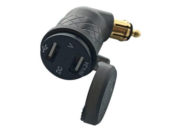 Adapter 2 USB aljzat - DIN dugó (4.2A, vízvédett, alumínium, 45°)