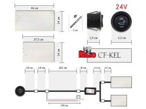 Carbon Fiber ülésfűtés 24V (méhsejt, elektronikus)