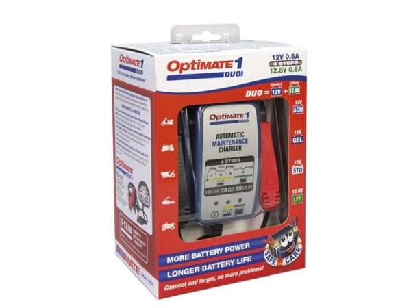 TecMATE OptiMATE 1 DUO automata savas ólom- és lítiumos akkumulátortöltő (12V & 12.8V, 0.6A) 4